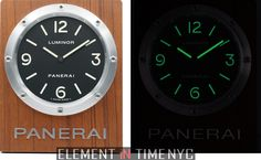 """Framed iN Time!"" Officine Panerai 200mm Wall Clock Quartz 2012 Ref#: PAM 255 ($2,725.00 USD) http://www.elementintime.com/Officine-Panerai-Wall-Clock-Luminor-PAM-255-Stainless-Steel-200mm"