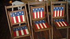 Red White and Blue....Patriotic antique chairs