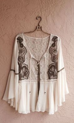 Image of Free People Show Pony vintage collection art Deco peasant top