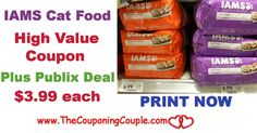 High Value Iams Dry Cat Food Coupon Plus Only $3.99 Deal @ Publix Now. Print this $3/1 Coupon now while it is available folks! These go fast*  Click the link below to get all of the details ► http://www.thecouponingcouple.com/high-value-iams-dry-cat-food-coupon-plus-only-3-99-publix/ #Coupons #Couponing #CouponCommunity  Visit us at http://www.thecouponingcouple.com for more great posts!