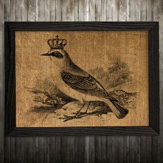 Crown print. Bird poster. Wildlife decor. Burlap print.  PLEASE NOTE: this is not actual burlap, this is an art print, the image is printed on art
