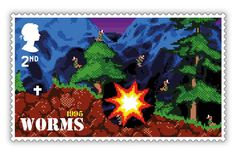 In Worms featured cartoon-style warfare between, well, you guessed it - worms! The series went on to become an international success story. The special gaming stamps from the Royal Mail go on sale 21 January Royal Mail Stamps, First Class Stamp, Video Game Collection, Classic Video Games, First Day Covers, Brand Identity Design, Penny Black, Stamp Collecting, Cartoon Styles