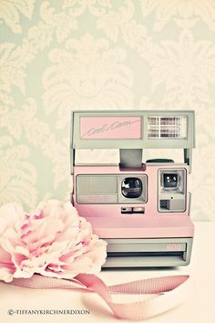 Retro pink Polaroid camera