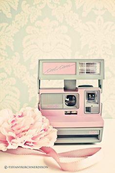 Retro pink Polaroid camera