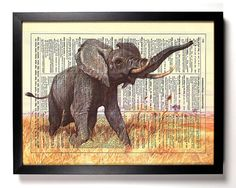 African Safari, Elephant, Antique Book Art, Recycled Dictionary, Upcycled Vintage Dictionary Book Page, 8 x 10 Print