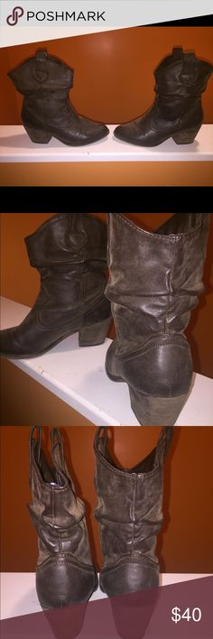Rocket Dog Boots Distressed,Brown mid-calf western style boot. Perfect for any outfit! Rocket Dog Shoes Ankle Boots & Booties