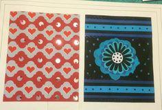 pattern fabric rojo azul gris celeste teoría del color patrón textil flor corazones  patrón de tela papel paper cut