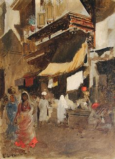 EDWIN LORD WEEKS American, 1849–1903 Street Scene in Bombay Signed E.L. Weeks, also inscribed on the reverse Please return to E.L. Weeks/ 128 Av. de Wagram, Paris Oil on board 8¾ x 6¼ inches (22 x 16 cm) Framed: 14¾ x 12½ (37.5 x 32 cm)
