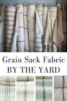 Grain Sack Fabric by the yard for farmhouse decor projects. Great fabric for pillows, slipcovers, upholstery projects and curtains.