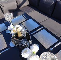 9 Seater Rattan Corner Garden Sofa & Dining Table Set in Black With Dark Cushions Black Rattan Garden Furniture, Garden Sofa, Sofa Dining Table, Outdoor Cover, Corner Garden, 1 Piece, Cushions, Luxury, Glass