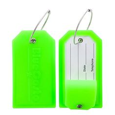BlueCosto Luggage Tags Suitcase Labels w Privacy Cover Steel Loops  Green Pack of 2 >>> Read more reviews of the product by visiting the link on the image.Note:It is affiliate link to Amazon.