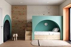 Daria Alieva on Behance Creative Kids Rooms, Cool Kids Rooms, Girl Room, Girls Bedroom, Modern Kids Bedroom, Interior Architecture, Interior Design, Kids Room Design, Kid Spaces