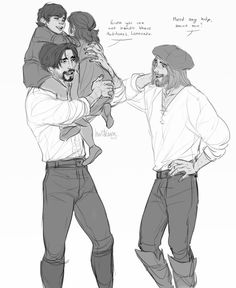 Ezio and Leonardo with Ezio's kids. I like to imagine them calling him uncle Leonardo