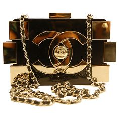 Chanel Black Gold 'Lego' Bag ❤ liked on Polyvore featuring bags, handbags, clutches, chanel, purses, bolsas, gold purse, chanel pochette, man bag and gold clutches