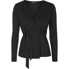 TOPSHOP Judo Belt Wrap Top ($52) ❤ liked on Polyvore featuring tops, black, topshop, black wrap top, topshop tops, low v neck tops and layered tops