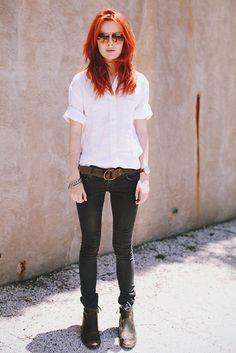 Chemise blanche+ large ceinture+slim
