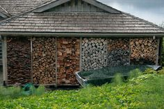 wood store for a wood burning stove/fireplace Wood storage Stacking Firewood, Firewood Storage, Firewood Logs, The Neighbor, Wood Store, Wood Shed, Into The Woods, Exterior, Houzz