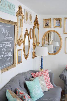 Gold Gallery Wall + grey