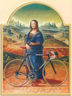 """Board """"Beauty-Bikes and Girls"""". - Poster for Colnago Bicycles: Mona Lisa with """"her Colnago bicycle"""" found at Seok Seng 1954 Bicycle Cafe, in Singapore. -"""