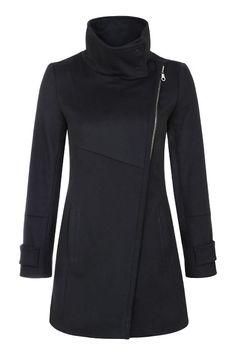 304 Пальто на молнии со стойкой, черное