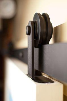 """Aero Barn Door Hardware Kit, Raw Steel, 9ft Track (for 54"""" or Smaller Door) rustic-hardware"""