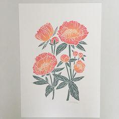 Peach peonies A3 hand printed hand carved lino print