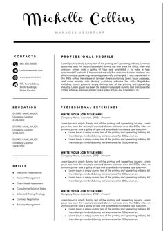 Pink Resume Template For Word And Pages    Page Cv Template