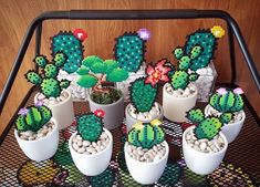 Sweet garden idea by pxlprincess cactus hama hamabeads garden summer garden Perler Bead Designs, Hama Beads Design, Diy Perler Beads, Hama Beads Patterns, Perler Bead Art, Beading Patterns, Loom Patterns, Bracelet Patterns, Embroidery Patterns