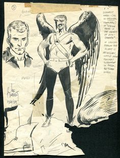 Joe Kubert: Hawkman & Hawkgirl concept drawings (1958-59)