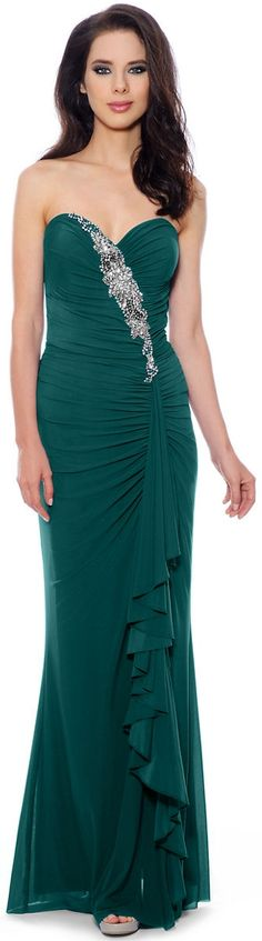 DECODE 1.8 Strapless Ruffle Gown.