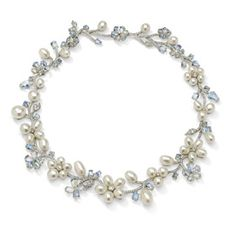 Laura Munder 18k white gold necklace, set with Keshi pearls, moonstones and diamonds