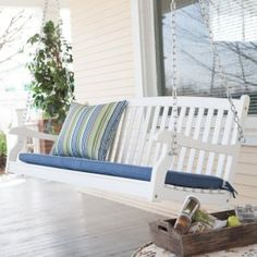 Coral Coast Pleasant Bay White Curved Back Porch Swing with Optional Cushion - Porch Swings at Hayneedle