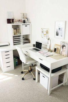 47 Home Office Organization Ideas and Minimalist Checklist - Leah D. Greene 47 Home Office Organizat Home Office Design, Home Office Decor, Office Ideas, Office Furniture, Office Designs, Cozy Office, Furniture Dolly, Small Office, Furniture Stores