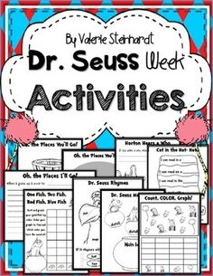 Includes Writing pieces, great bulletin board ideas, Math, and Reading activities! Have fun and learn with Dr. Seuss. -Oh, the Places You'll Go! Bulletin Board writing and cut-outs-One Fish, Two Fish graphing activity-If Thing 1 and Thing 2 came to my house- writing-The Lorax rhyme and color sheet-Main idea and details recording sheet One Fish, Two Fish themed-Count, graph, and color Dr.
