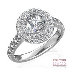Engagement Ring with 1.33 Carats (TDW 1 1/3ct) in 18ct White Gold – 183D39107-1