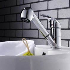 Fashion Polished Chrome Finished Pull Out Spout bathroom basin Kitchen Sink Mixer Tap Faucet AD-1229