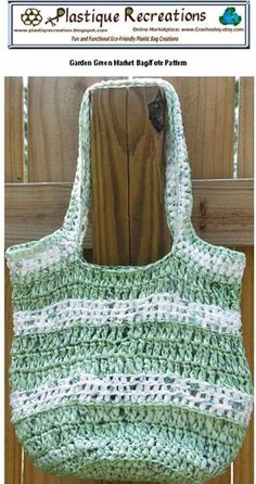 PDF Crochet Pattern - Garden Green Market Bag/Tote .. crochet ...recycled/reusable eco-friendly made with plastic yarn aka plarn