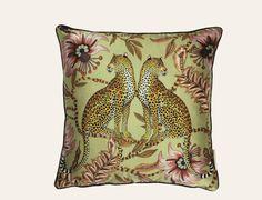 Lovebird Leopard Delta Silk Cushion  100% silk. Printed 40x40cm cushion in Lovebird Leopard design, Delta colour. Back of cushion in soft pistachio colour silk.
