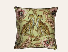 Lovebird Leopard Delta Silk Cushion  100% silk. Printed 40x40cm cushion in Lovebird Leopard design, Delta colour. Back of cushion in soft pistachio colour silk.