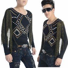 Black Long Sleeve Tassel Retro Rockabilly Fashion T Shirt Top Clothing SKU-11409327