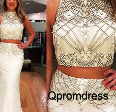Unique two pieces prom dress, ball gown, elegant high neck chiffon prom dress #coniefox #2016prom