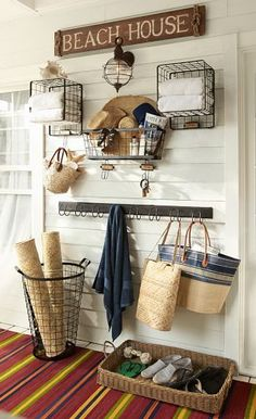 Seaside chic http://rstyle.me/n/kfnenn2bn. I like the idea of a basket for shoes to keep sand from getting everywhere