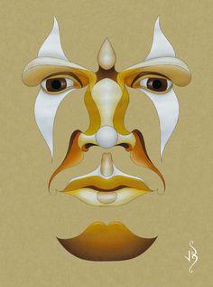 Flying Face (Self-portrait) by John Biccard.