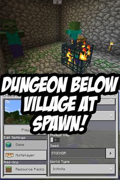 MCPE Dungeon Seed   Dungeon Is Beneath The Well In The Village At Spawn.  Seed