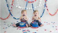 Baseball Themed Twin Boy Cake Smash Session - Indianapolis Portrait Photography