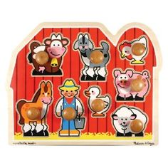 Melissa and Doug have some of the best puzzles. Love the big knobs on these