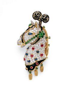 Multi-gem and Enamel Horse Brooch, David Webb
