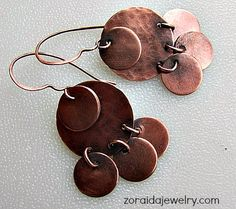 Unique handmade jewelry inspired by nature and ancient cultures. Each artistic creation of copper, bronze, silver and semi precious is special. Copper Cuff, Copper Earrings, Pin Art, Wire Wrapped Earrings, Circle Earrings, Polymer Clay Earrings, Metal Jewelry, Metal Working, Circles