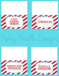 Carnival Birthday Party Food Tent Cards  Circus by punkydoodlekids, $6.00