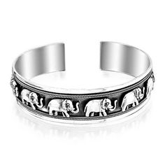 Bling Jewelry Sterling Silver Lucky Elephant Antiqued Open Cuff Bracelet ** You can find out more details at the link of the image.